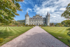 Inveraray Castle (Scottish Gaelic Caisteal Inbhir Aora, pronounced [ˈkʰaʃtʲəl̪ˠ iɲɪɾʲˈɯːɾə]) is a country house near Inveraray in the county of Argyll, in western Scotland, on the shore of Loch Fyne, Scotland's longest sea loch.[2]. It is one of the earliest examples of Gothic Revival architecture.It has been the seat of the Dukes of Argyll, chiefs of Clan Campbell, since the 18th century.