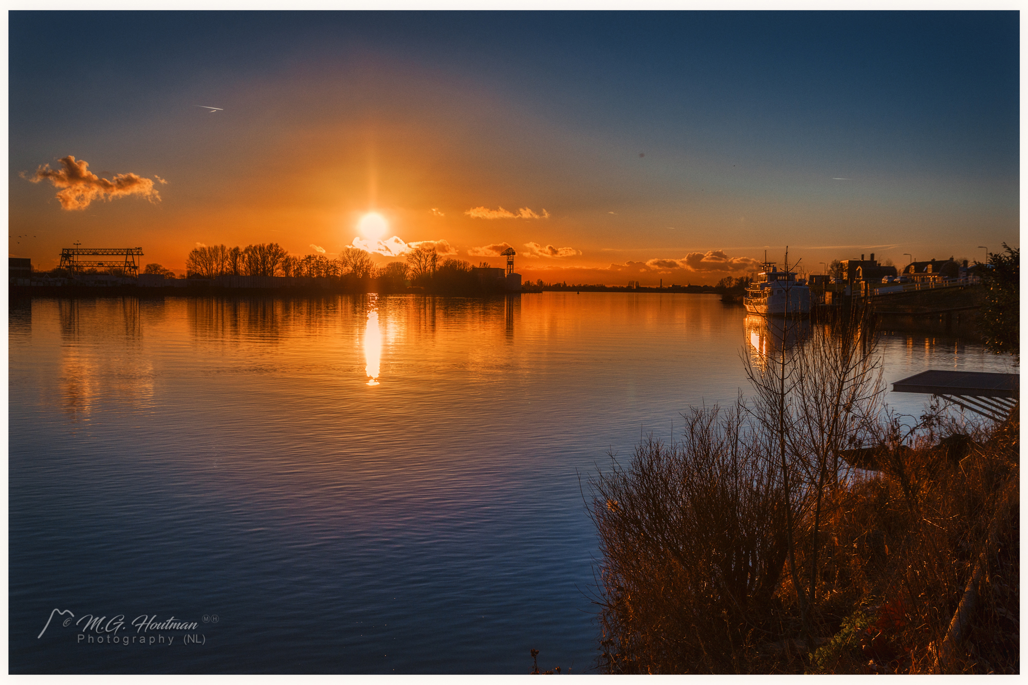 winter sunset along the river