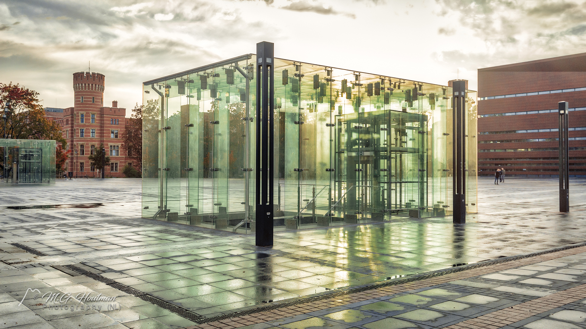 Glass elevator on square at National Music Forum