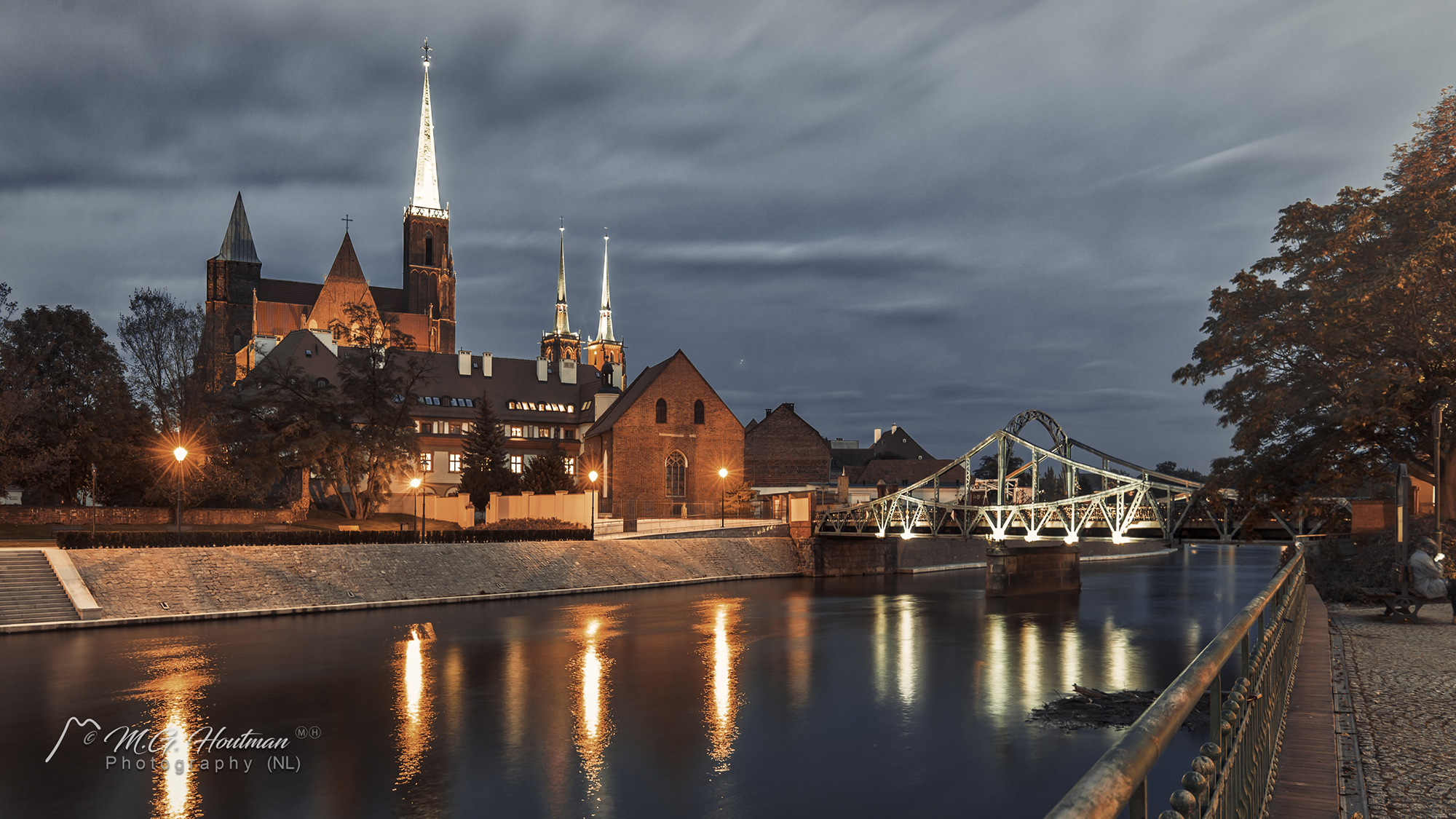 Bridge and churches on Ostrów Tumski, Wroclaw